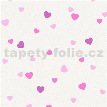Vinylové tapety na stenu Adelaide srdiečka ružové na krémovom podklade