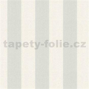 Vinylové tapety na stenu Adelaide pruhy sivo-biele s trblietkami