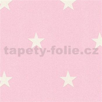 Vinylové tapety na stenu Adelaide hviezdičky biele na ružovom podklade s trblietkami