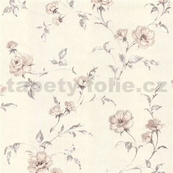 Vliesové tapety na stenu Allure kvety ruží hnedé s leskom