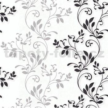 Vliesové tapety na stenu Allure rastlinný vzor sivo-čierny s leskom
