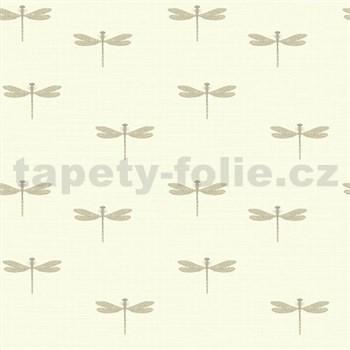 Vinylové tapety na stenu Lochs and Lagoons vážky na krémovom podklade