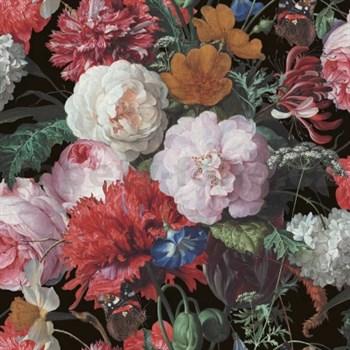 Papierové tapety na stenu velké kvety na čiernom podklade