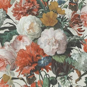 Papierové tapety na stenu veľké kvety na bielom podklade
