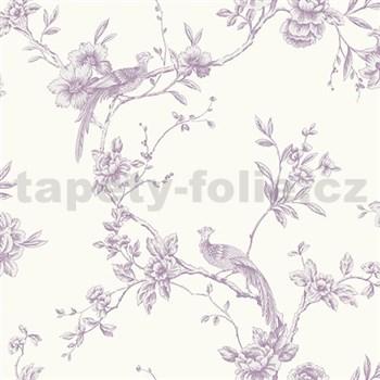 Papierové tapety na stenu Options kvety s pávom fialové