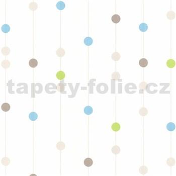 Vliesové tapety na stenu guličky modré, hnedé, zelené