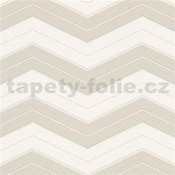 Vliesové tapety na stenu pruhy hnedo-biele