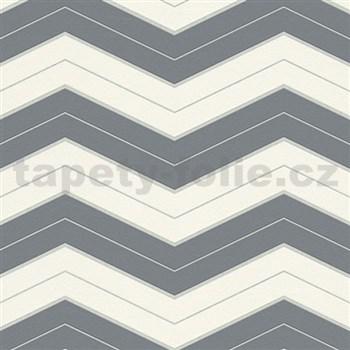 Vliesové tapety na stenu pruhy sivo-biele