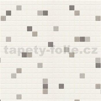 Vinylové tapety na stenu kachličky strieborno-hnedé na krémovom podklade
