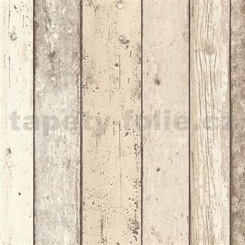 Vliesové tapety na stenu Wood'n Stone drevené dosky svetlo hnedé