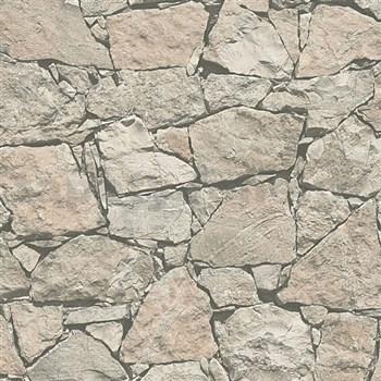 Vliesové tapety na stenu Wood'n Stone kameň štiepaný svetlo hnedý