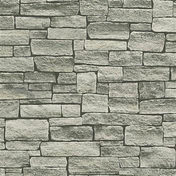 Vliesové tapety na stenu Wood'n Stone kameň skladaný hnedý