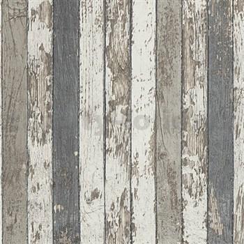 Vliesové tapety na stenu Wood'n Stone drevené laty hnedé, sivé, biele POSLEDNÉ KUSY