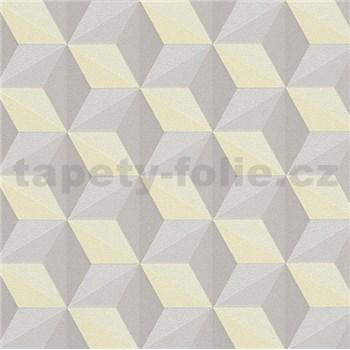 Vliesové tapety na stenu Esprit 3D abstrakt hnedo-žltý s leskom