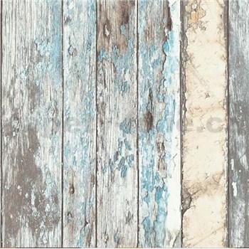 Vliesové tapety na stenu Exposed drevené dosky modré, béžové, sivé, biele