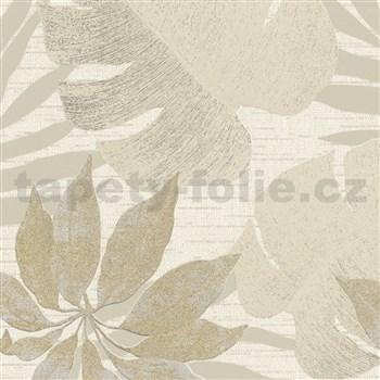 Vliesové tapety na stenu Avalon listy s kvetmi hnedé na krémovom podklade