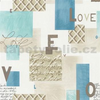 Papierové tapety na stenu Be You - Love modro-hnedá