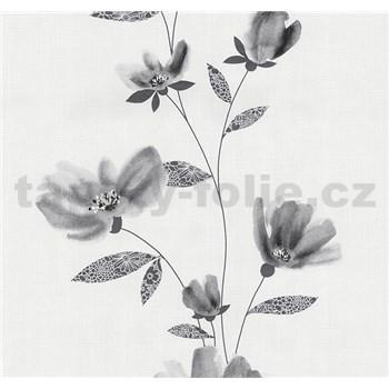 Vliesové tapety na stenu Blues kvety sivé