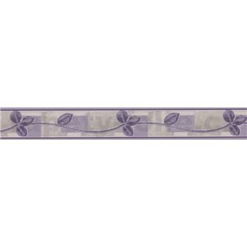 Vinylová bordúra listy fialové 5 m x 6,6 cm