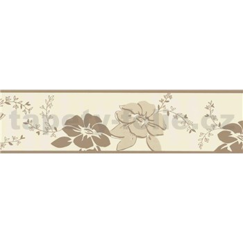 Vinylová bordúra kvety hnedé a metalické 5 m x 13,3 cm