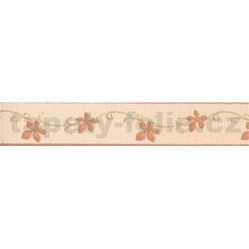 Vinylová bordúra kvety hnedé so zelenými stonkami 1274 - 5 m x 5,4 cm - POSLEDNÉ KUSY