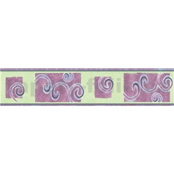 Bordúra špirály fialové 10 m x 5 cm