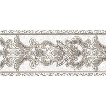 Vliesové bordúry ornamenty hnedé s trblietkami rozmer 12,5 cm x 5 m