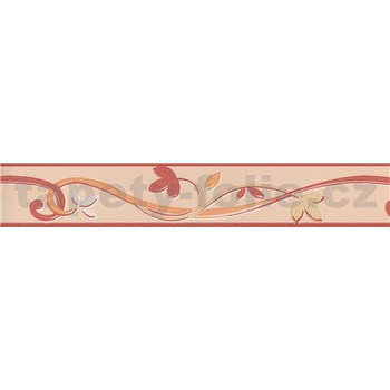 Moderná bordúra popínavé lístky - červená 5 m x 4,5 cm