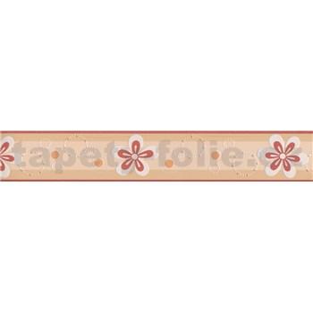 Moderná bordúra s kvetinkami - červená