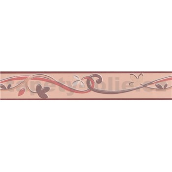 Moderná bordúra popínavé lístky - hnedá 5 m x 4,5 cm