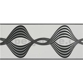 Vliesové bordúry vlnovky čierno-strieborné na bielom podklade rozmer 5 m x 17 cm
