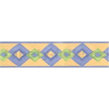 Samolepiaca bordúra moderný vzor fialovo-zelený 10 m x 5,3 cm