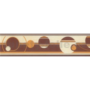 Samolepiace bordúry abstraktné kruhy hnedo-oranžové 5 m x 5 cm