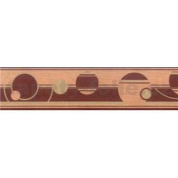 Samolepiace bordúry abstraktné kruhy hnedé 5 m x 5 cm