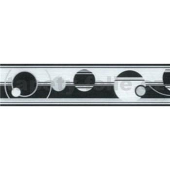 Samolepiace bordúry abstraktné kruhy čierno-biele 5 m x 5 cm