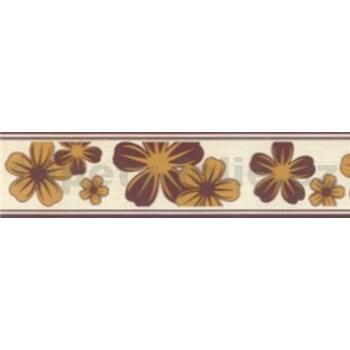 Samolepiace bordúry kvety okrovo-hnedé 5 m x 5 cm