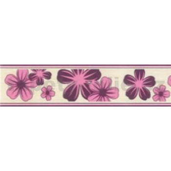 Samolepiace bordúry kvety fialové 5 m x 5 cm