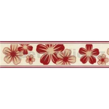 Samolepiace bordúry kvety červeno-hnedé 5 m x 5 cm