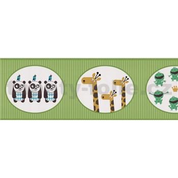 Bordúry papierové zelené so zvieratkami - 5 m x 17,7 cm