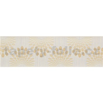 Vliesové bordúry bodky hnedé na krémovom podklade s prúžkami rozmer 5 m x 13 cm