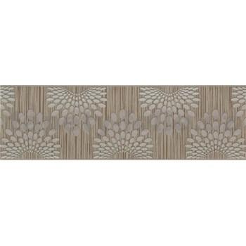 Vliesové bordúry bodky sivé na hnedom podklade s prúžkami rozmer 5 m x 13 cm