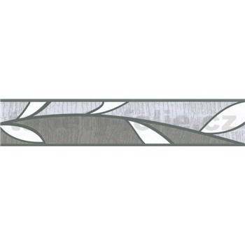 Samolepiace bordúry lístky sivé 5 m x 5,8 cm