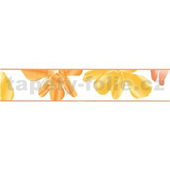 Samolepiace bordúry kvetinky oranžovo-žlté 5 m x 5,8 cm
