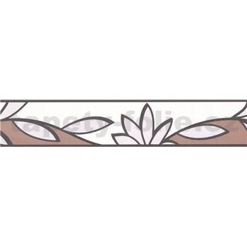 Samolepiaca bordúra lístky hnedo-biele 5 m x 5,8 cm