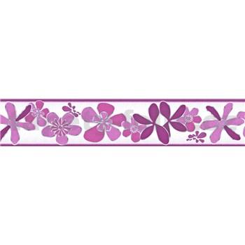 Samolepiaca bordúra kvety fialové 5 m x 5,8 cm