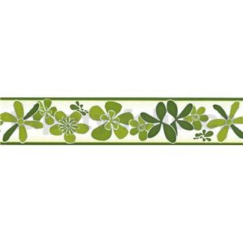 Samolepiaca bordúra kvety zelené 5 m x 5,8 cm