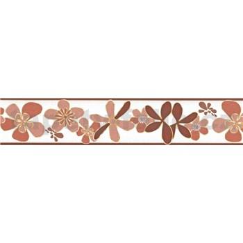 Samolepiaca bordúra kvety hnedé 5 m x 5,8 cm