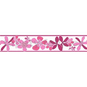 Samolepiaca bordúra kvety ružové 5 m x 5,8 cm