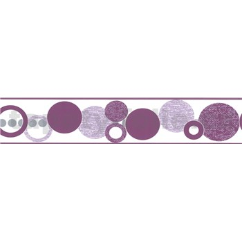 Samolepiaca bordúra kruhy fialové 5 m x 5,8 cm