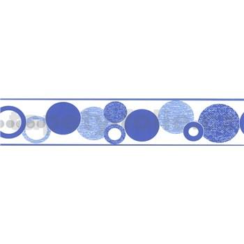 Samolepiaca bordúra kruhy modré 5 m x 5,8 cm